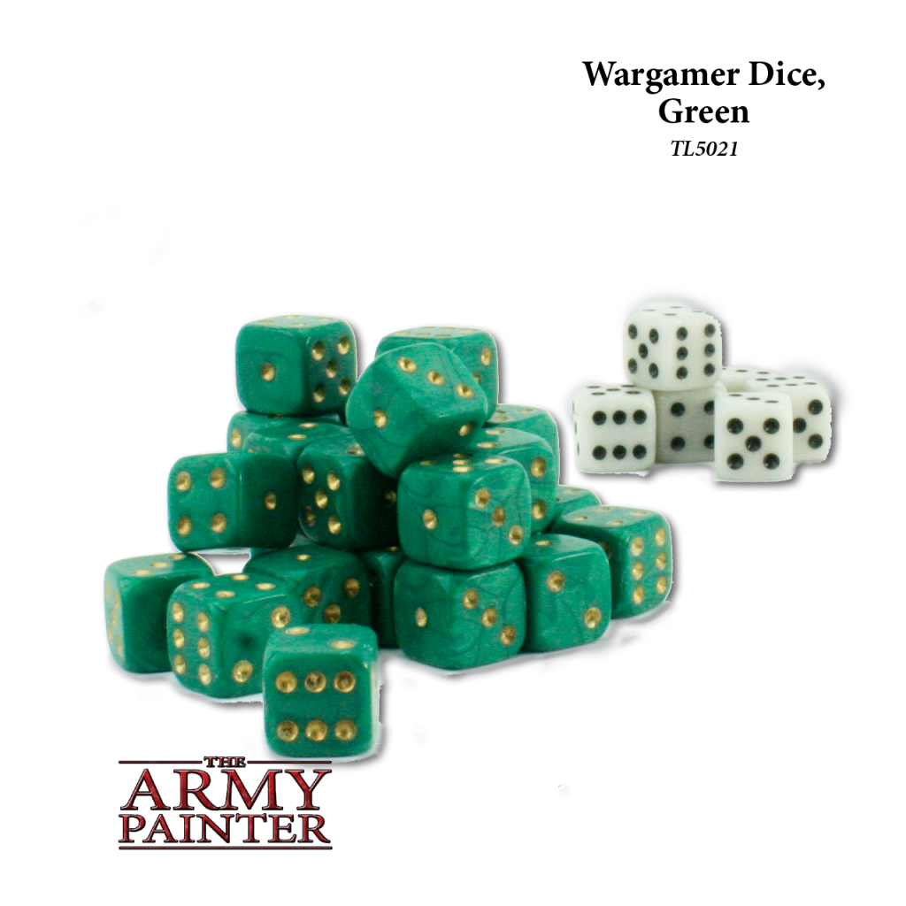 Army Painter Wargaming Dice Green with White